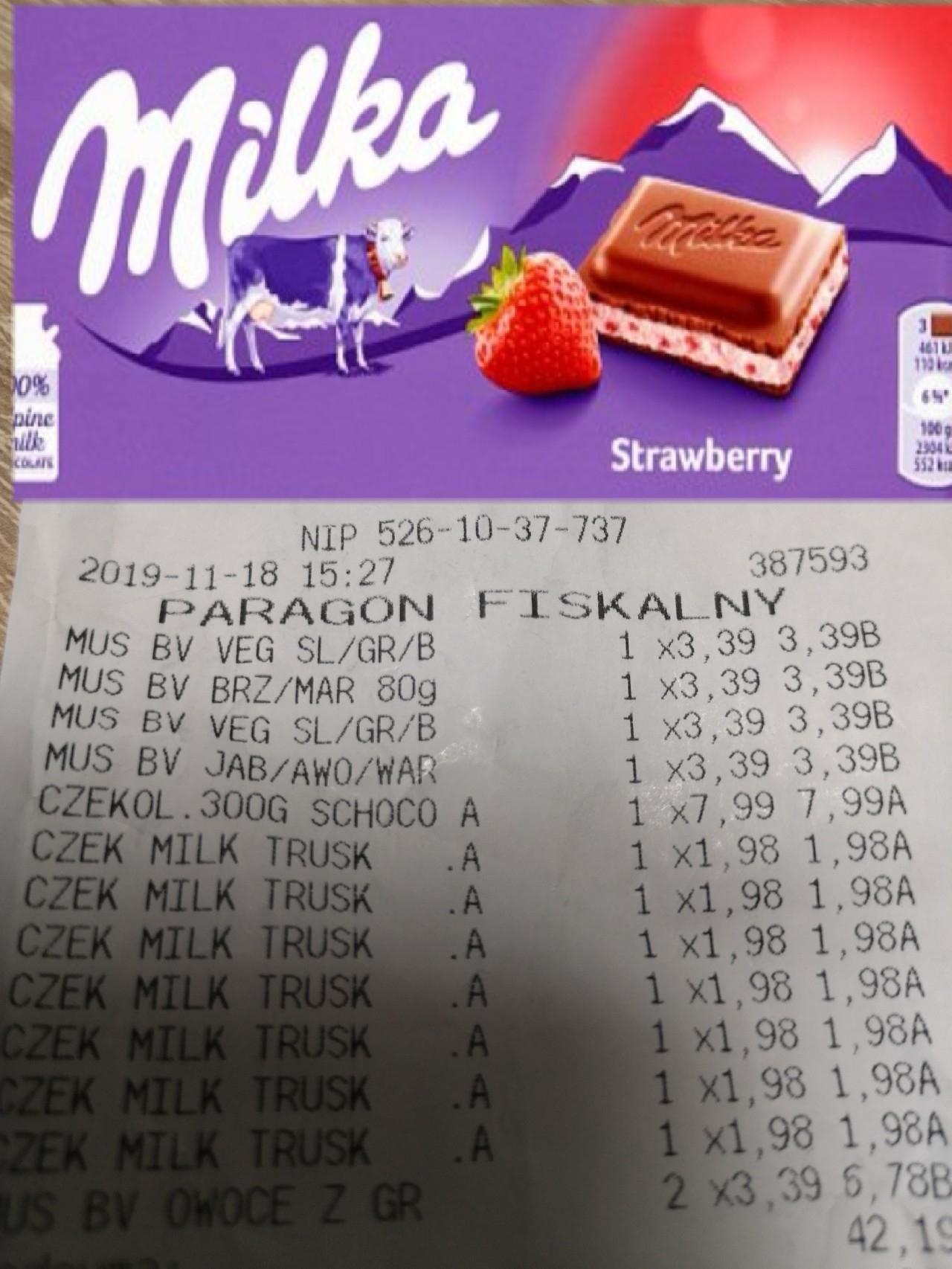 Czekolada Milka truskawkowa - Tesco