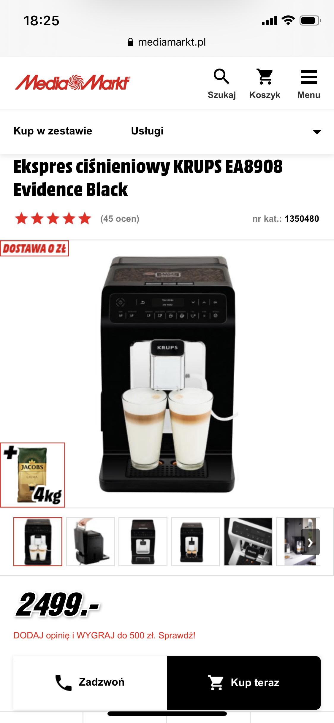 Ekspres KRUPS Ea8908 i ea8901 z 3 kg kawy i gwarancja + w zestawie oferta w MediaMarkt