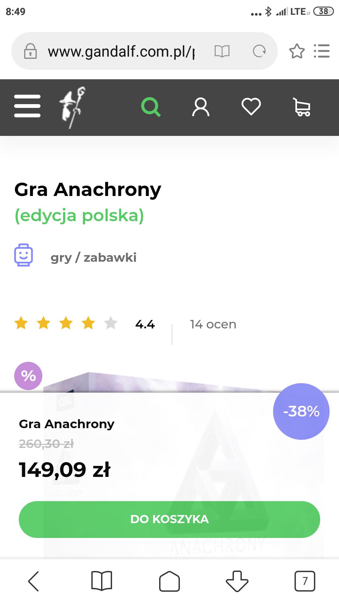 Anachrony 149zł przez link ceneo, darmowa dostawa do kiosków Ruchu