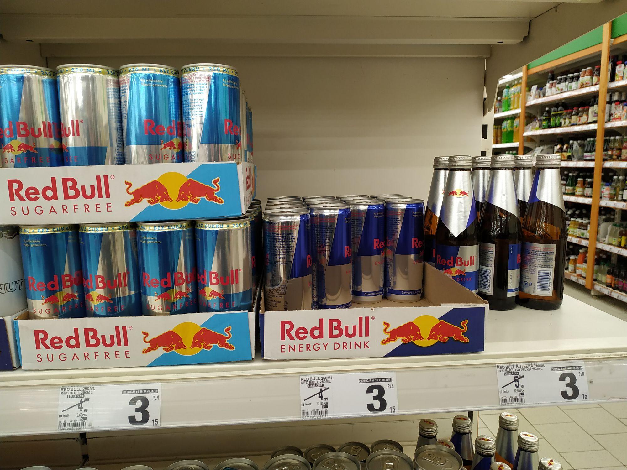 RedBull 250 ml , różne rodzaje, hipermarket Bi1