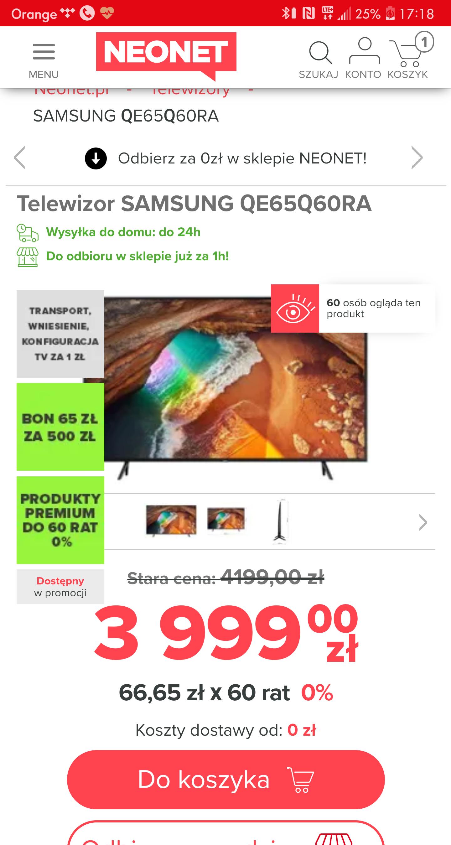 Telewizor Samsung QE65Q60RA za 3999 + 520zl BONU!