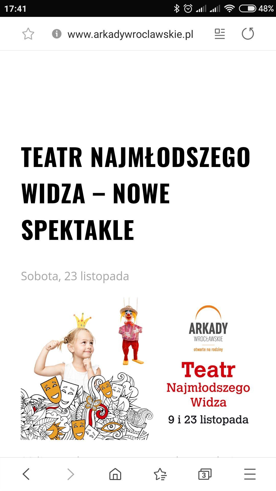 Wrocław - Arkady Wrocławskie -darmowe spektakle dla dzieci 23.11.