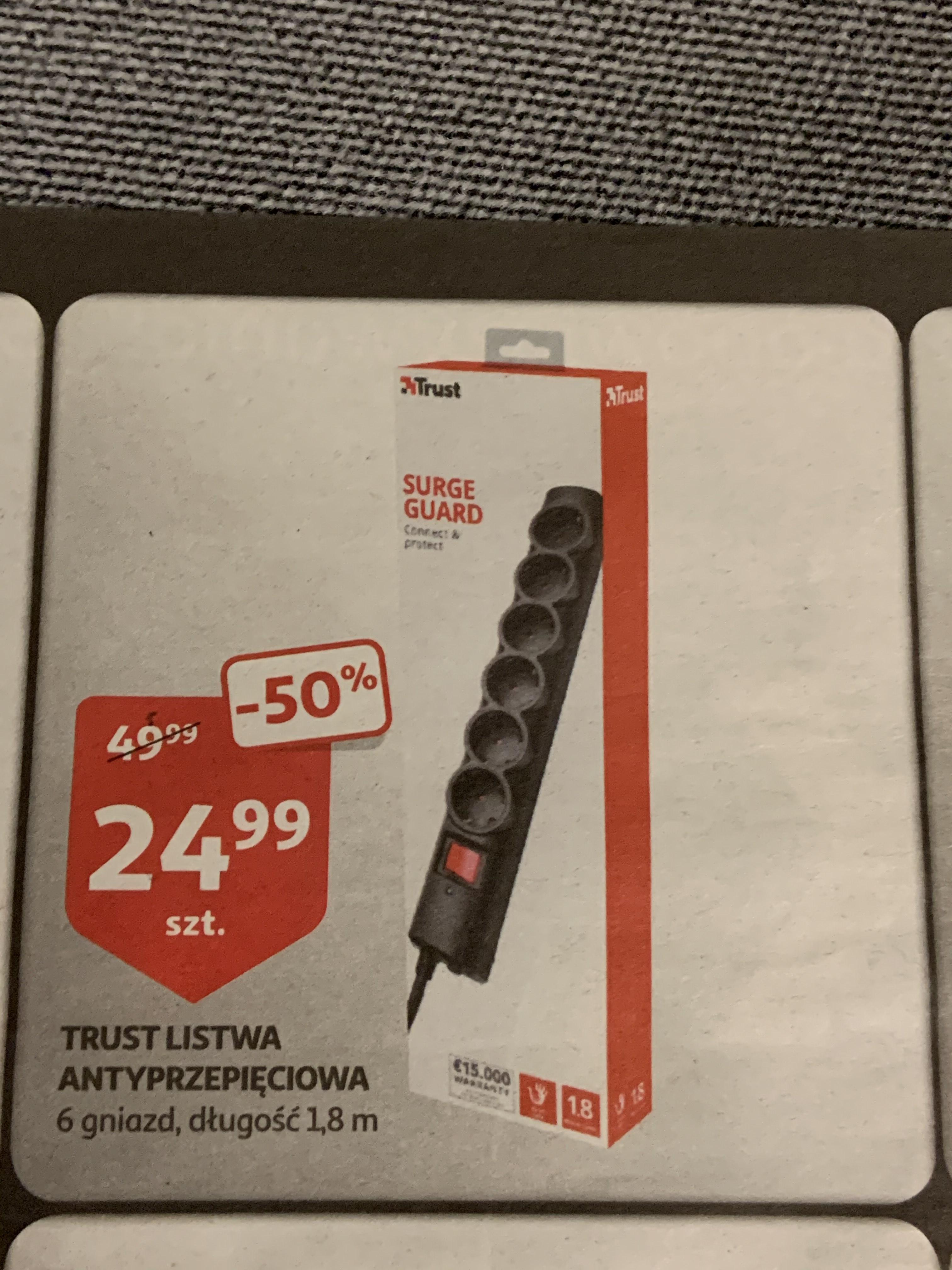 Listwa antyprzepięciowa TRUST 6 gniazd; 1,8m - Auchan