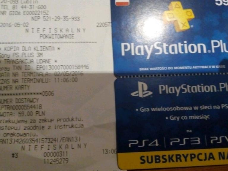 Subskrypcja PS+ na 3M za 59pln w Auchan