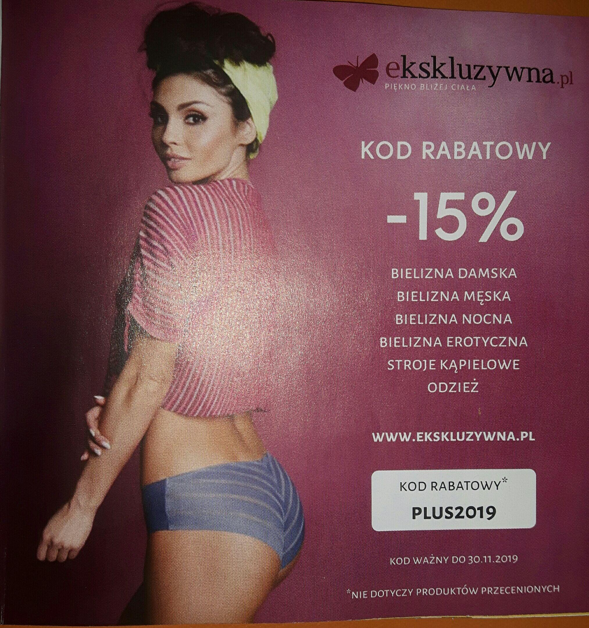 Kod -15% na zakupy w sklepie www ekskluzywna.pl