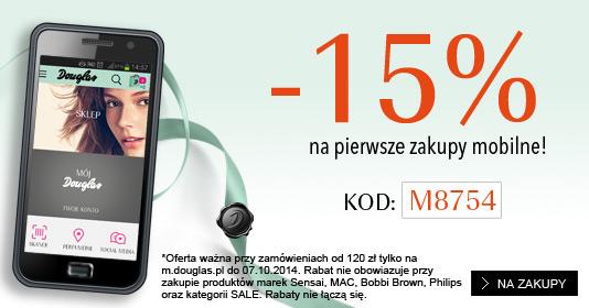 15% rabatu za pierwsze mobilne zakupy @ Douglas
