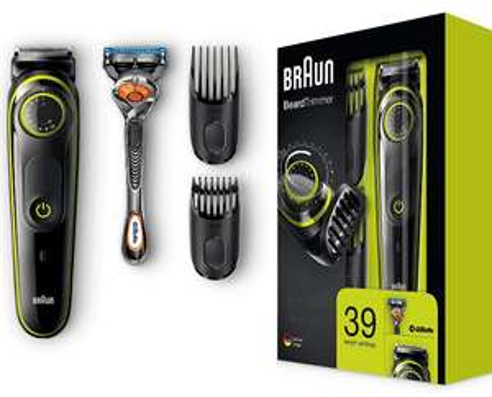 Braun BT3041 trymer do brody i trymer do włosów, 39 ustawień długości, w zestawie golarka Gillette, czarny/zielony Amazon.de