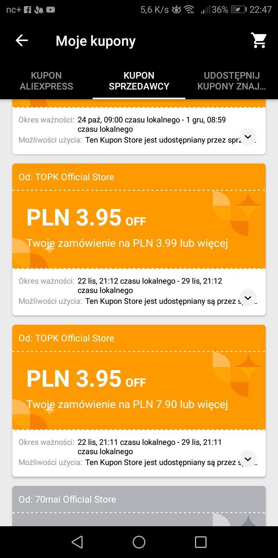 AliExpress Kupony TOPK 1/1.01$ oraz 1/2$