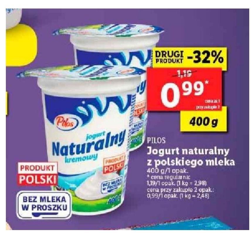 Jogurt naturalny Pilos. Cena przy zakupie dwóch. Lidl