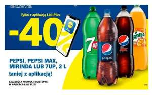 Pepsi, pepsi MAX, Mirinda lub 7Up 2 litry. Taniej o 40 %. Lidl Plus