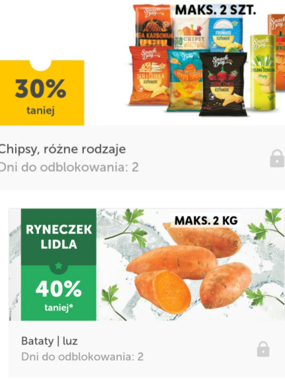 Chipsy różne rodzaje -30% i bataty -40% taniej lidl