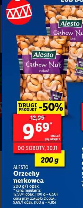 Orzechy nerkowca w Lidl 9,69 za 200 g przy zakupie 2 opakowań