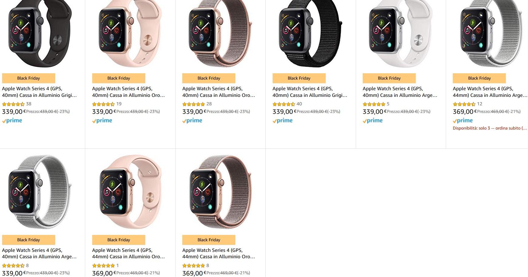 Apple Watch Series 4 (GPS, 40mm) z GPS różne, większość 346,55€ z wysyłką i VAT PL. Oferta wielu modeli w promocji Amazon.it