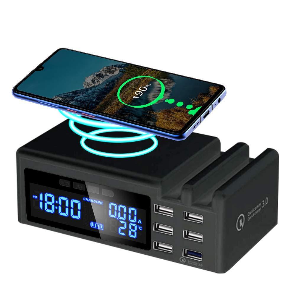 Zegar nocny z ładowarką indukcyjną i 6 portami USB QC