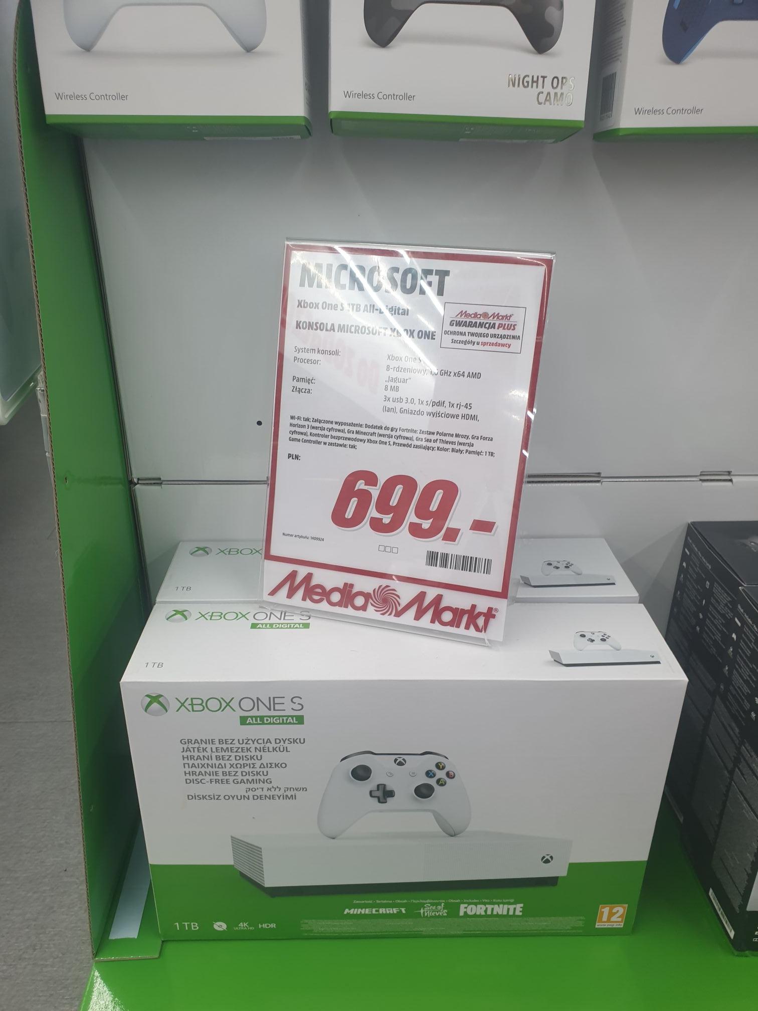 Xbox one s All Digital 1tb + pad + minecraft + fortnite + Sea of thieves MEDIA MARKT KALISZ
