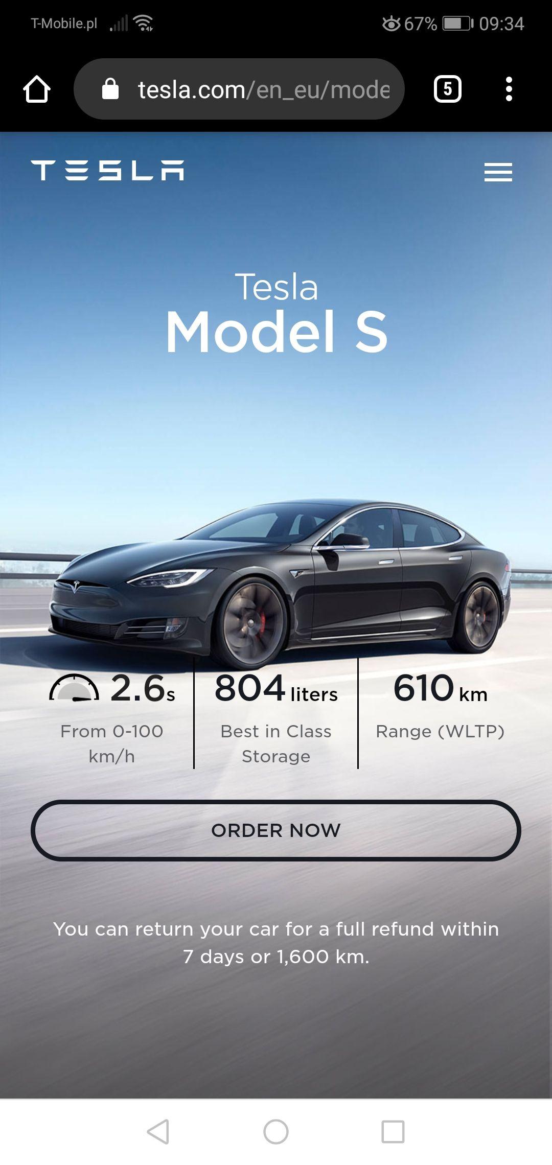 Samochód elektryczny Tesla S