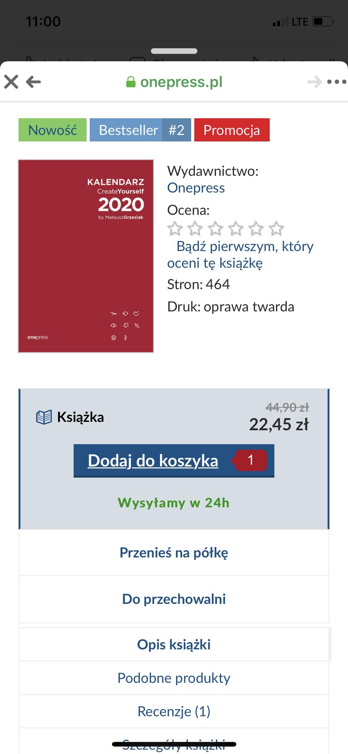 Kalendarz 2020 Create Yourself - planer, organizer