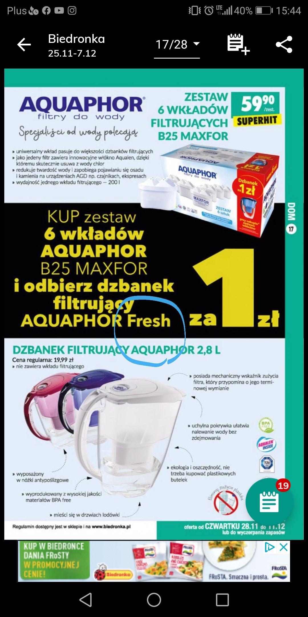 Zestaw 6 wkładów filtrującychB25 maxfor + dzbanek za 1zł