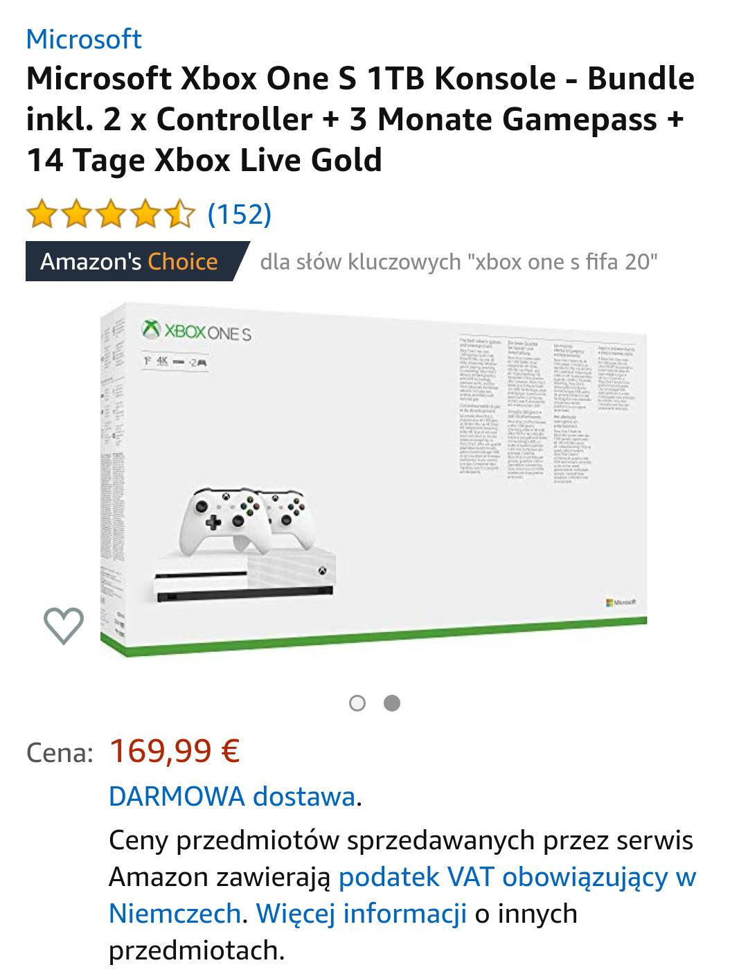 Microsoft Xbox One S 1TB 2pady + 3 miesiące Gamepass + 14 dni Xbox Live Gold