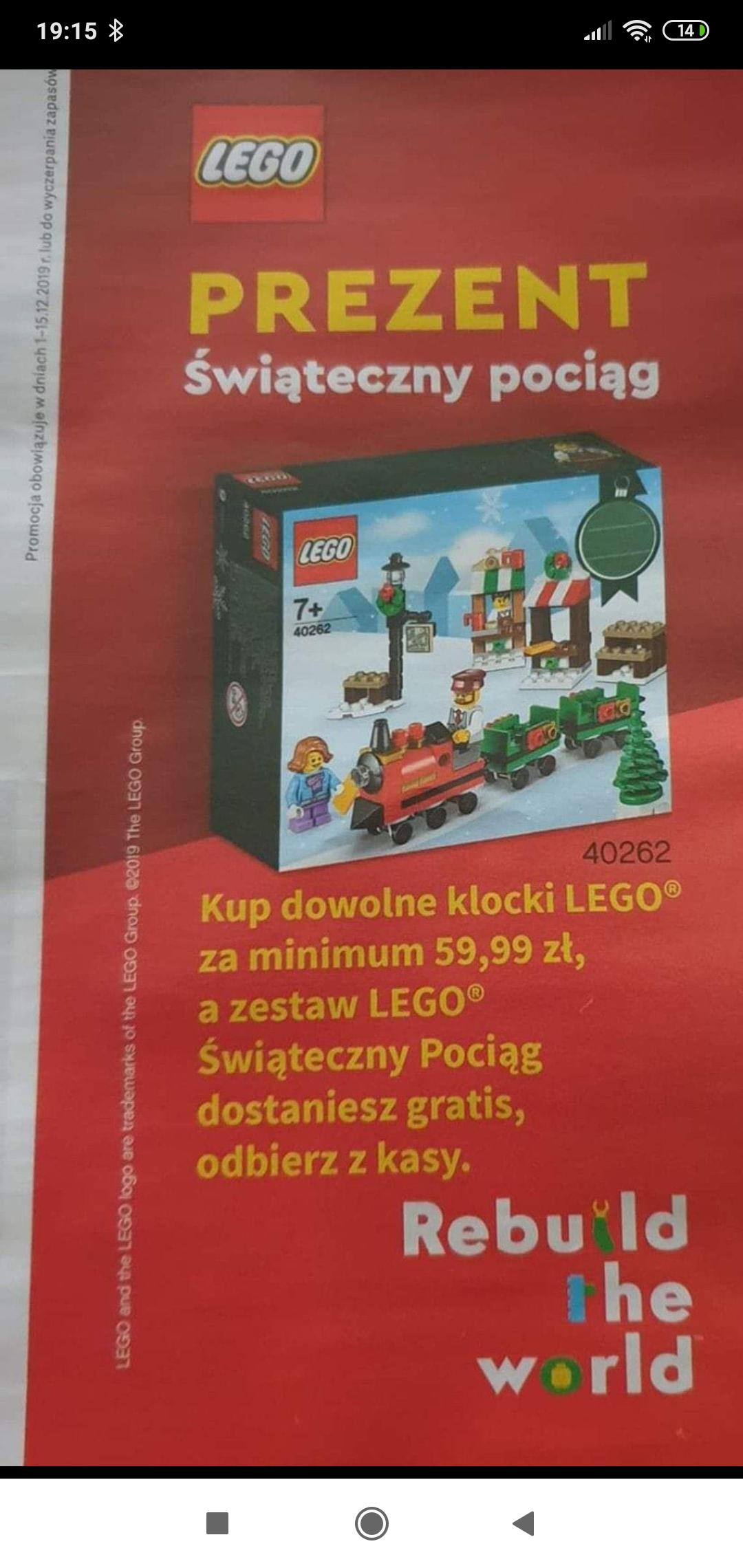 Rossmann - kup dowolne klocki LEGO za minimum 60 zł i odbierz gratis klocki LEGO świąteczny pociag