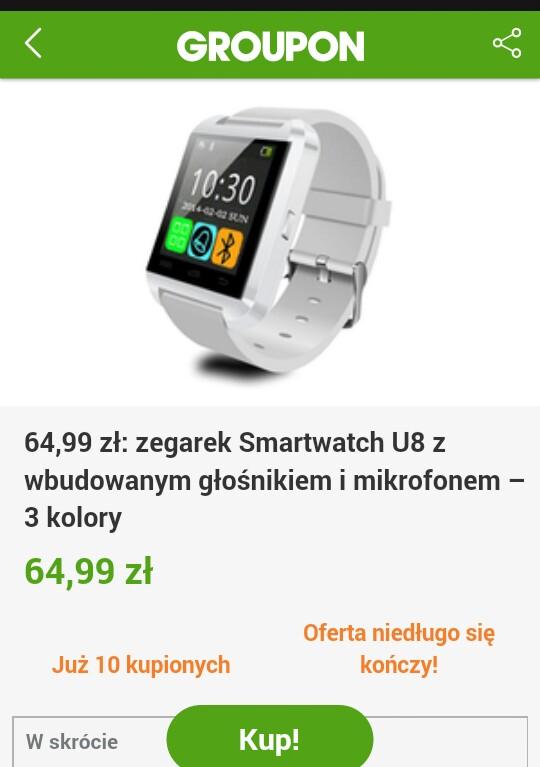 Smartwach U8 Grupon dostawa gratis
