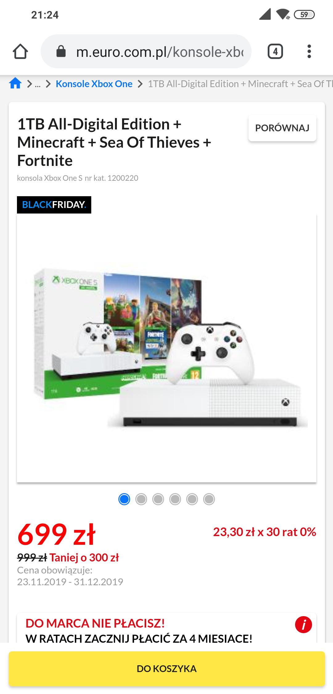 Konsola Xbox one S 1TB All-Digital Edition + Minecraft + Sea Of Thieves + Fortnite