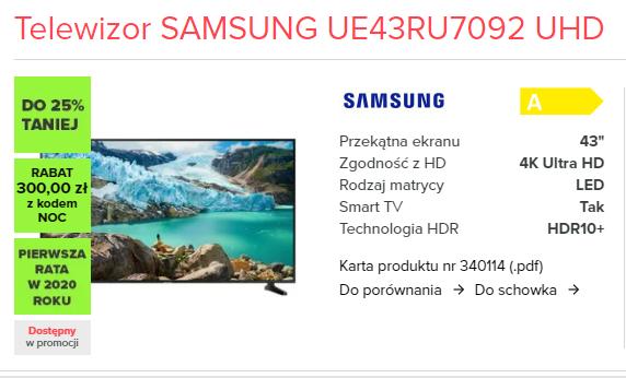 Telewizor SAMSUNG UE43RU7092 UHD