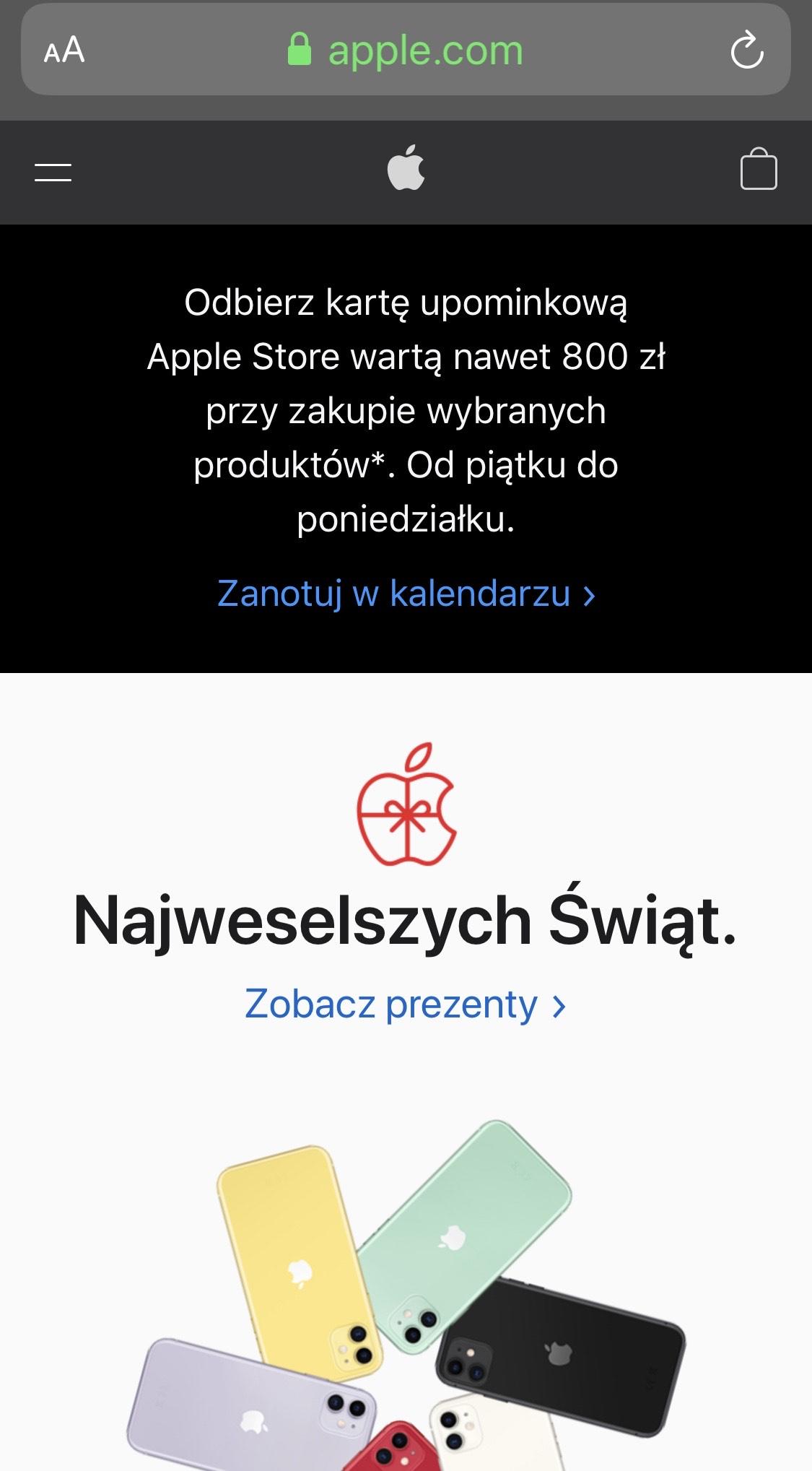 Karta upominkowa do 800 zł w Apple