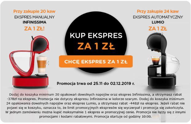Ekspres Dolce Gusto Lumio, Infinissima za 1 zł przy zakupie 20/24 opakowań kapsułek