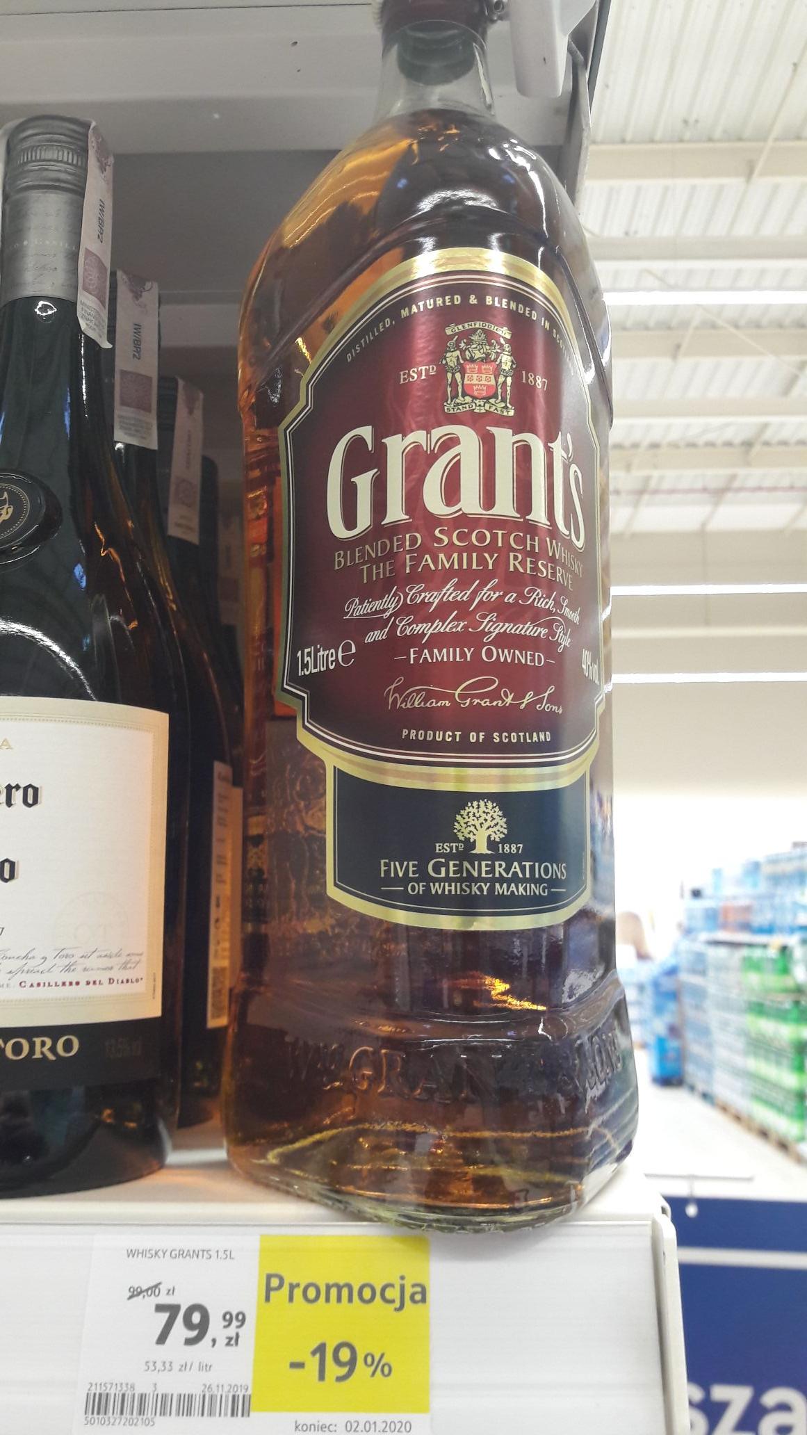 Whisky Grant's 1.5 L Tesco Kapelanka