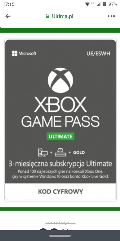 Xbox game pass ultimate na 3 miesiące od Ultima.pl