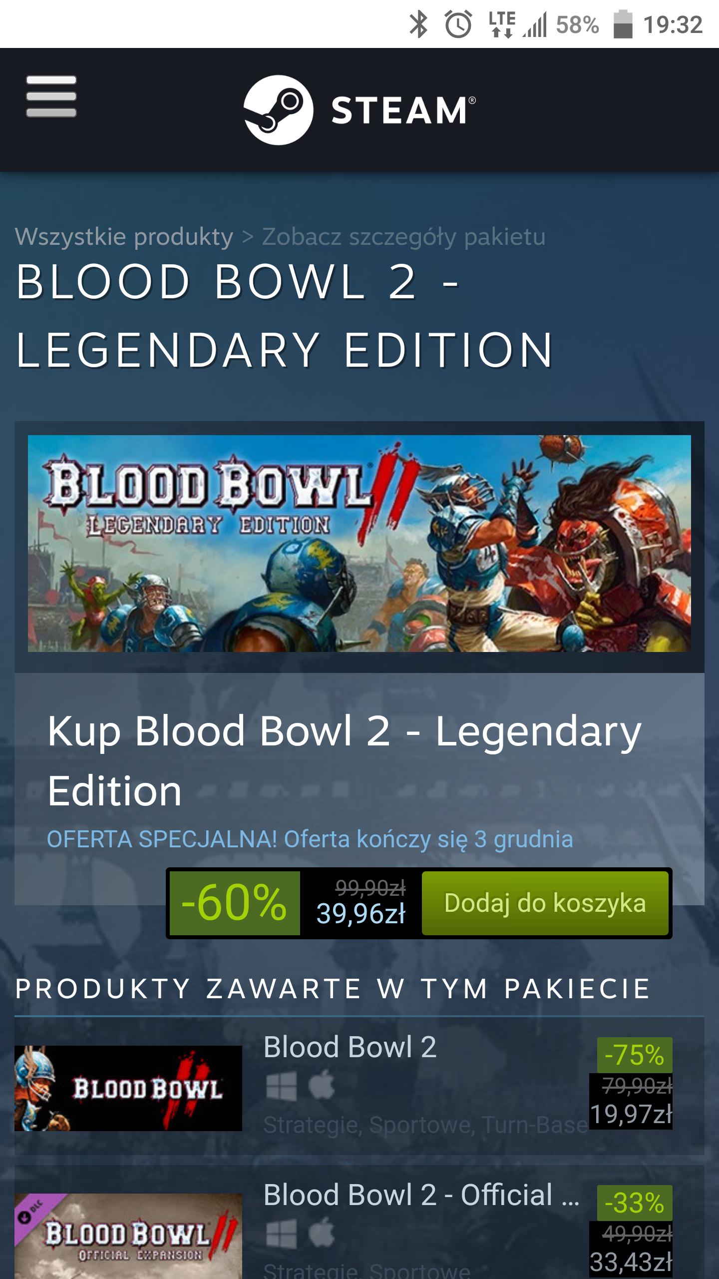 Promocja Blood Bowl 2 - Legendary Edition 60% taniej na steam.