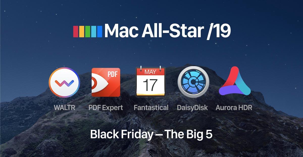 Paczka aplikacji na Mac Fantastical 2, DaisyDisk 4, PDF Expert 2, Aurora HDR, Waltr 2