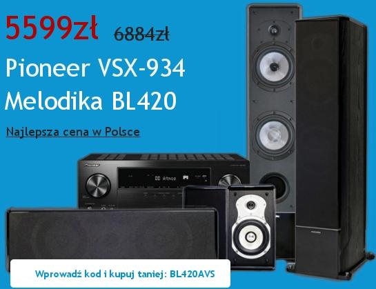 Zestaw kina domowego Pioneer VSX-934 + Melodika BL420 (z kodem rabatowym taniej o 1285 PLN)