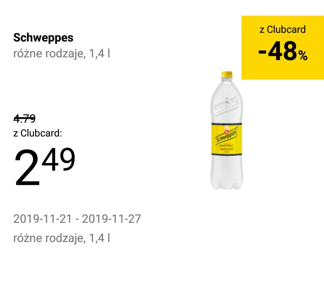 Schweppes 1.4l różne rodzaje [-48%] Tesco