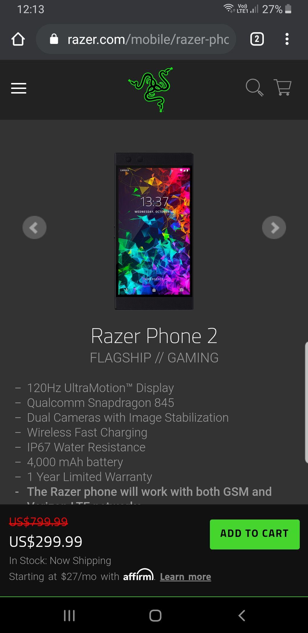 Razer Phone 2 z oficjalnej strony