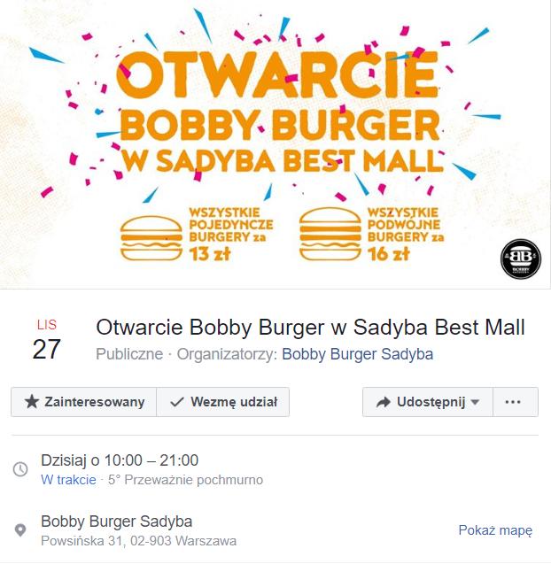 Otwarcie Bobby Burger Sadyba - Warszawa