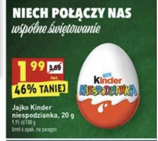 Jajko Kinder Niespodzianka 1,99zł/szt. - Biedronka