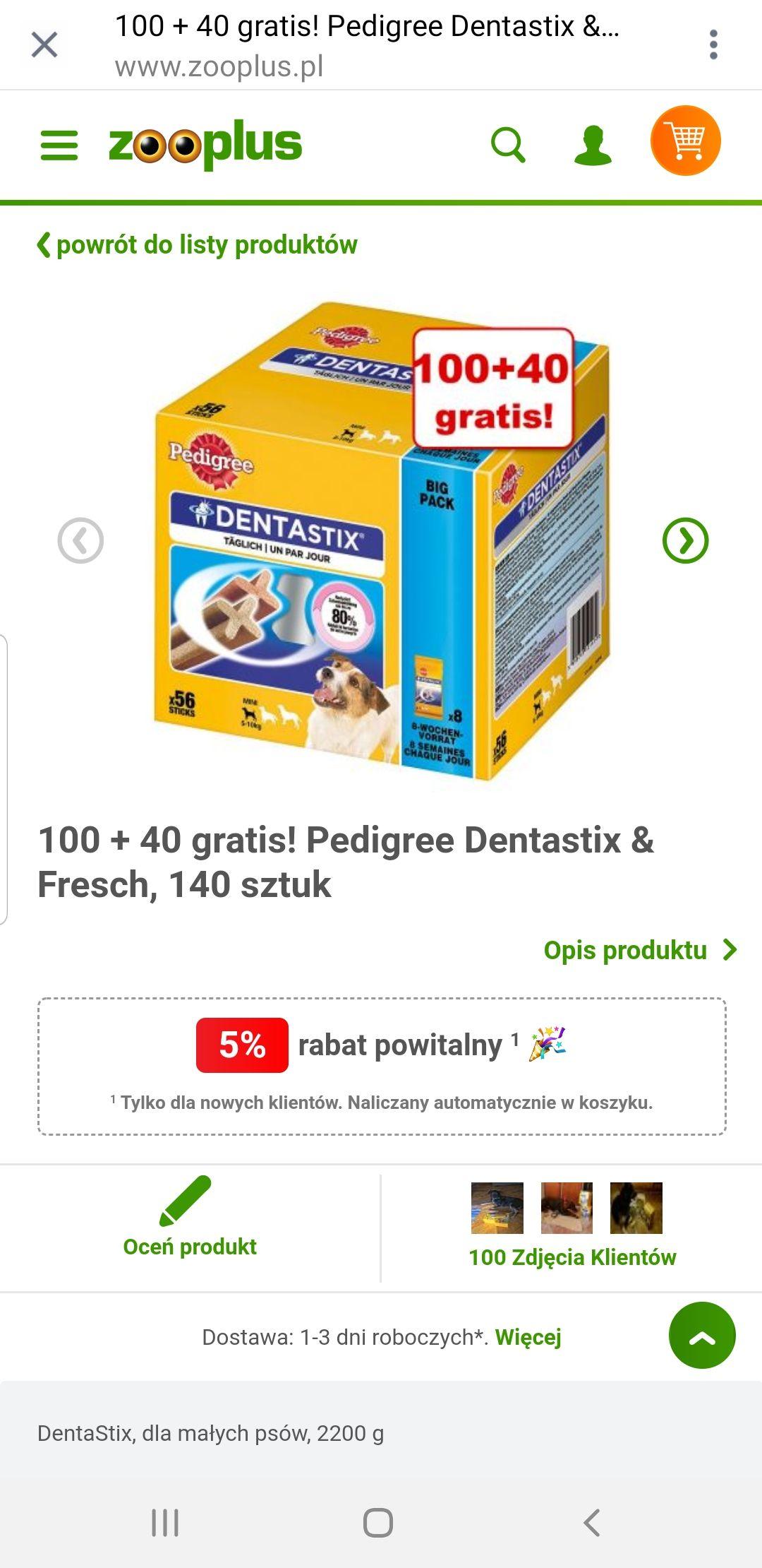 Dentastix 100 + 40 gratis w zooplus.