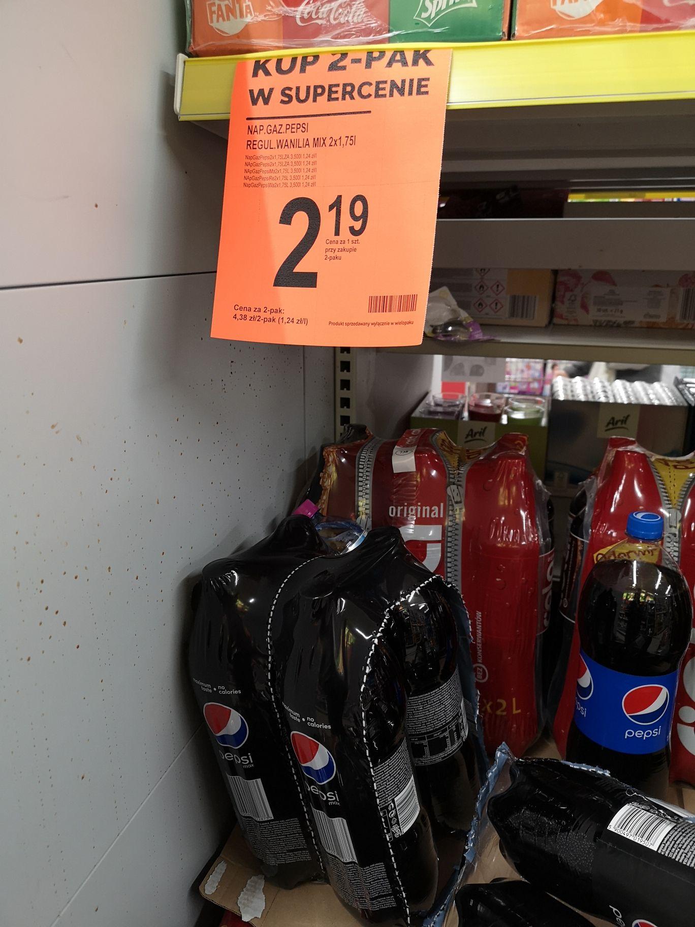 Pepsi 1,75l (różne rodzaje) za 2,19zł szt. przy zakupie 2 szt, @ Biedronka