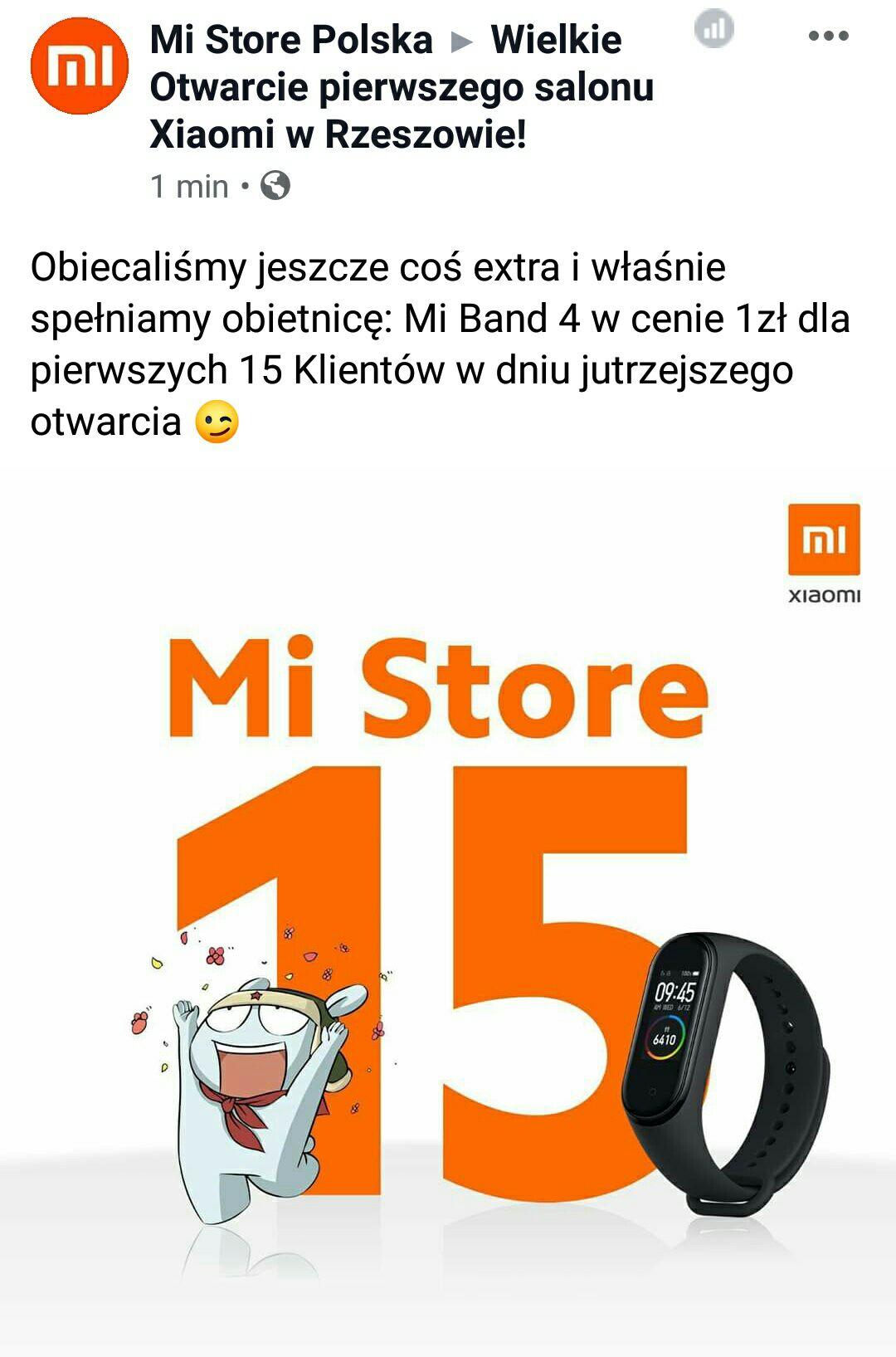 Mi Band 4 za 1zł dla pierwszych 15 klientów nowego sklepu Mi-Store Rzeszów