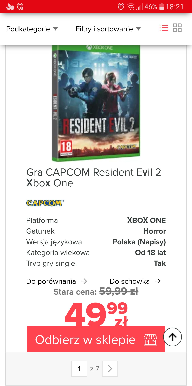 Resident Evil 2 Xbox One 49.99 zł! Neonet