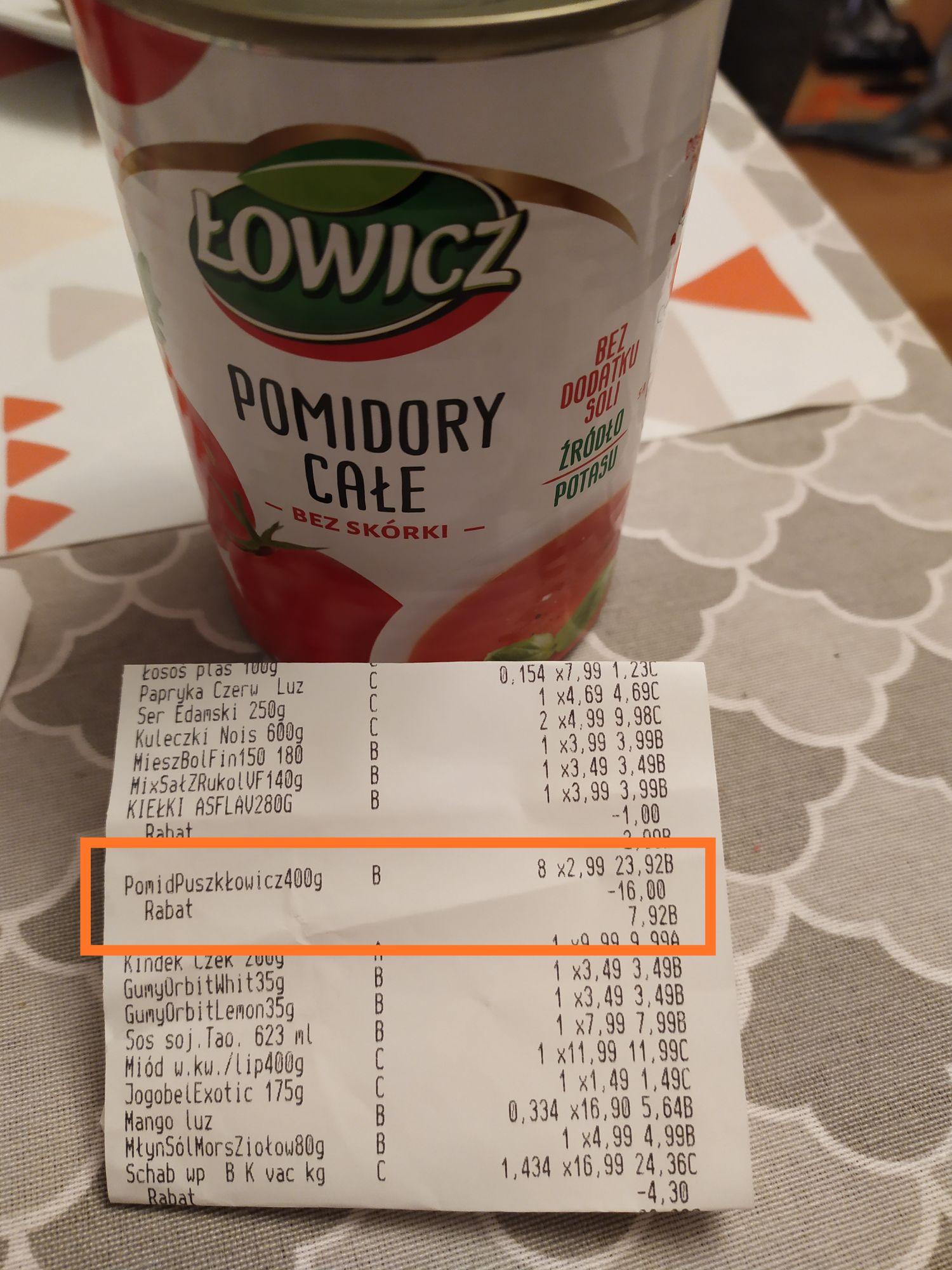 Pomidory całe bez skórki Łowicz Biedronka