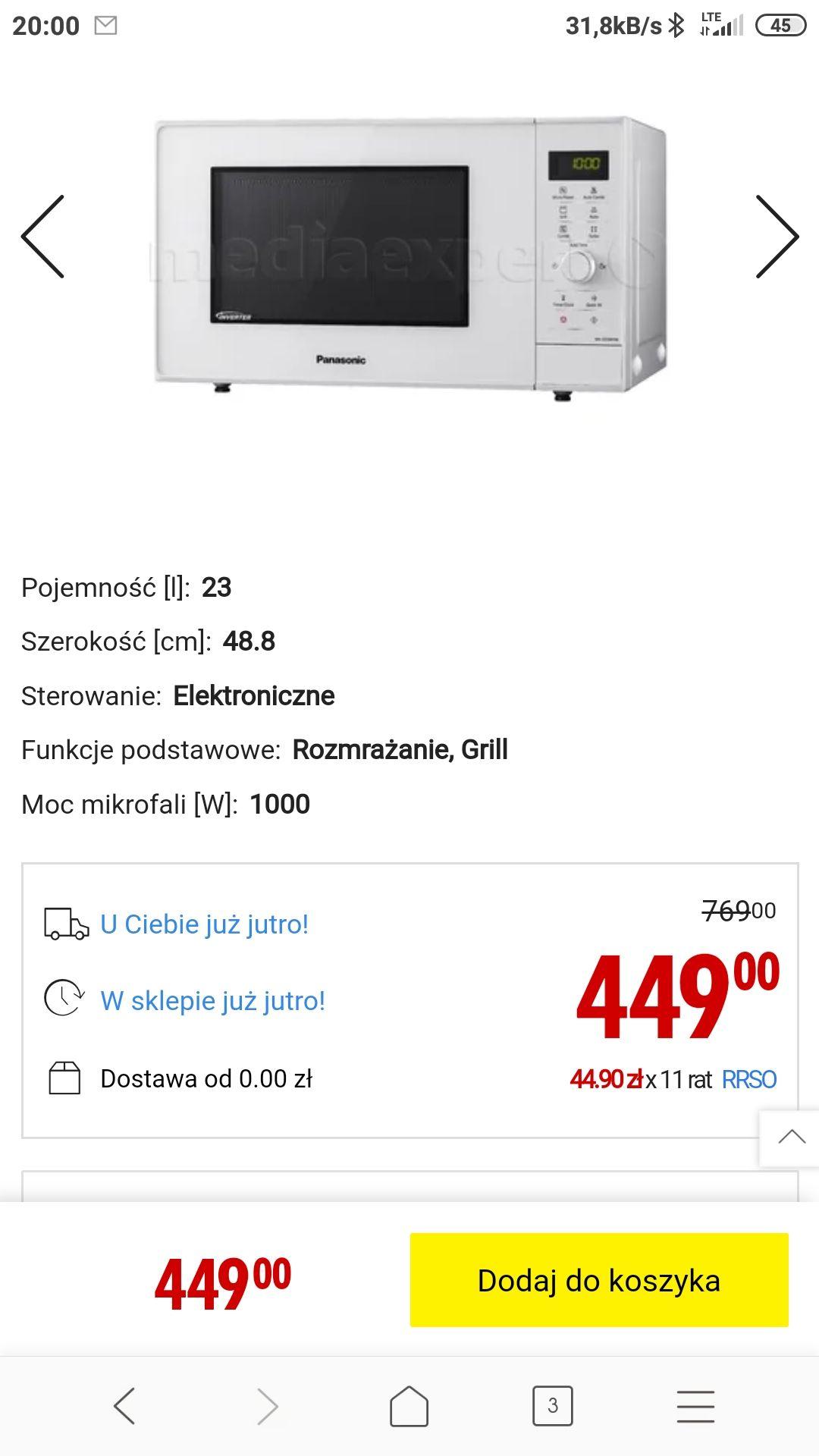 Kuchenka mikrofalowa Panasonic NN-GD34HWSUG