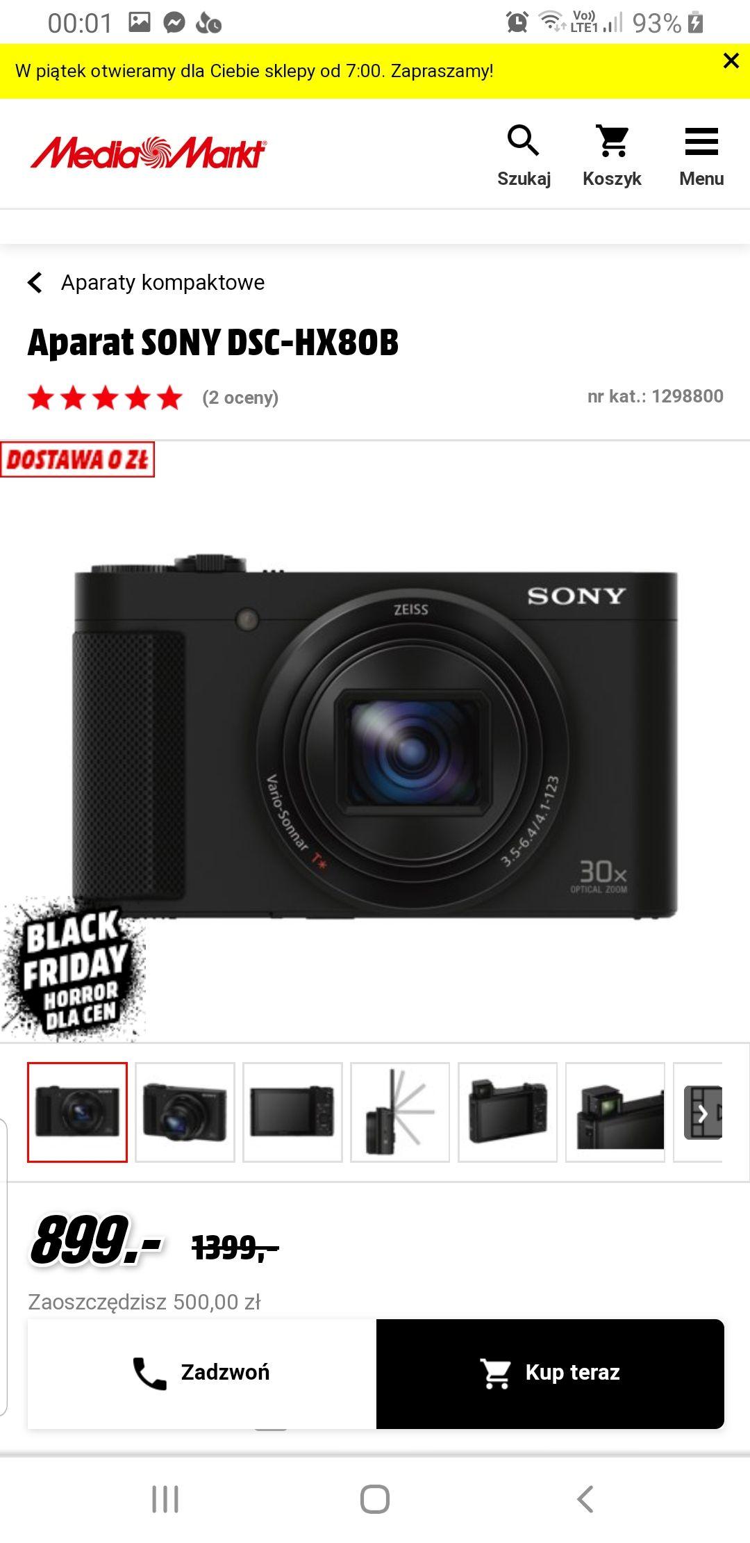 Aparat Sony HX80 30x zoom