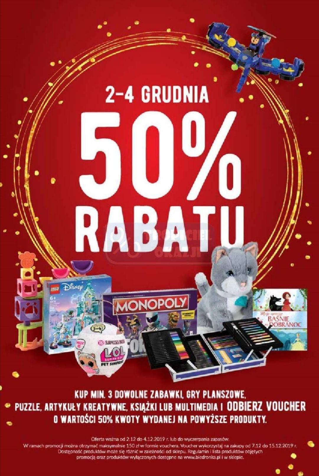 Biedronka. Kup minimum 3 zabawki, książki, multimedia i odbierz voucher o wartości 50% kwoty wydanej