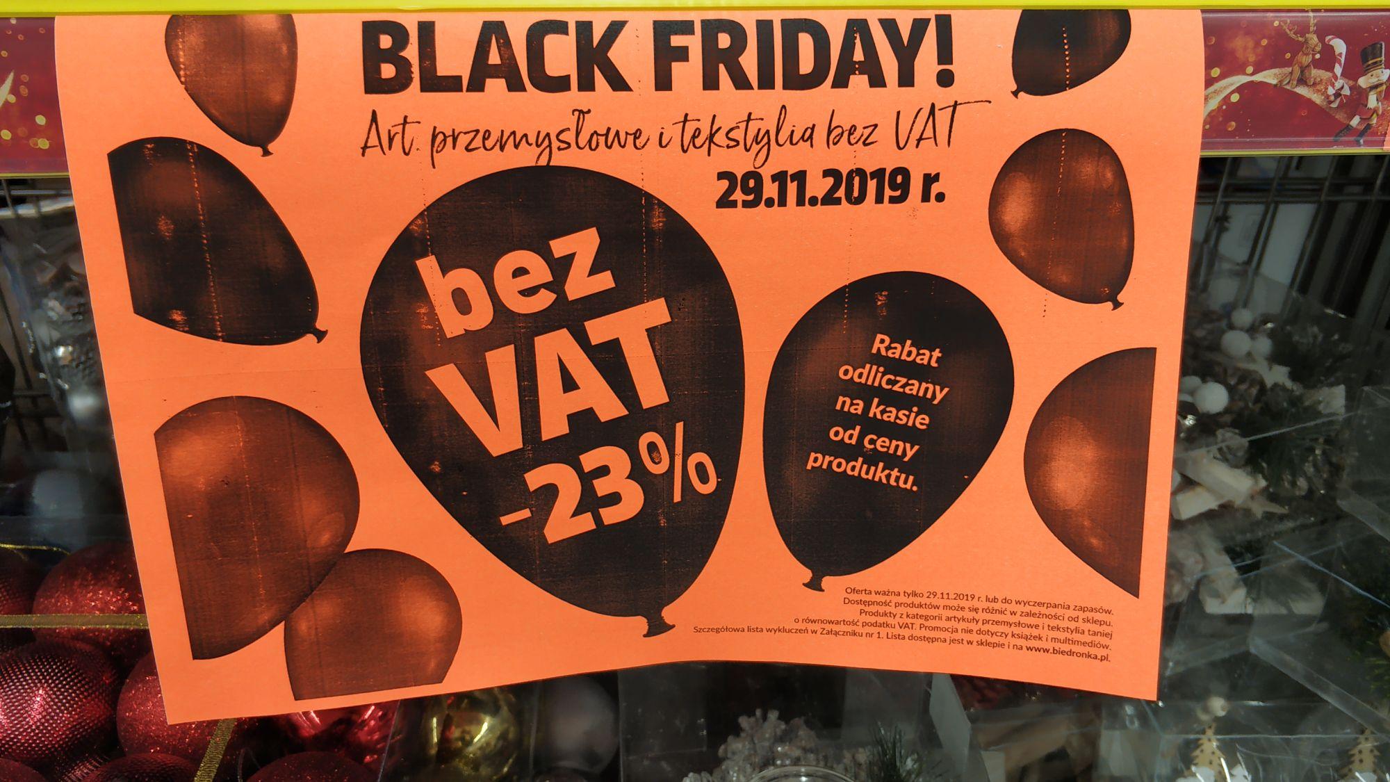 Biedronka Art. Przemysłowe i tekstylne bez VAT -23%