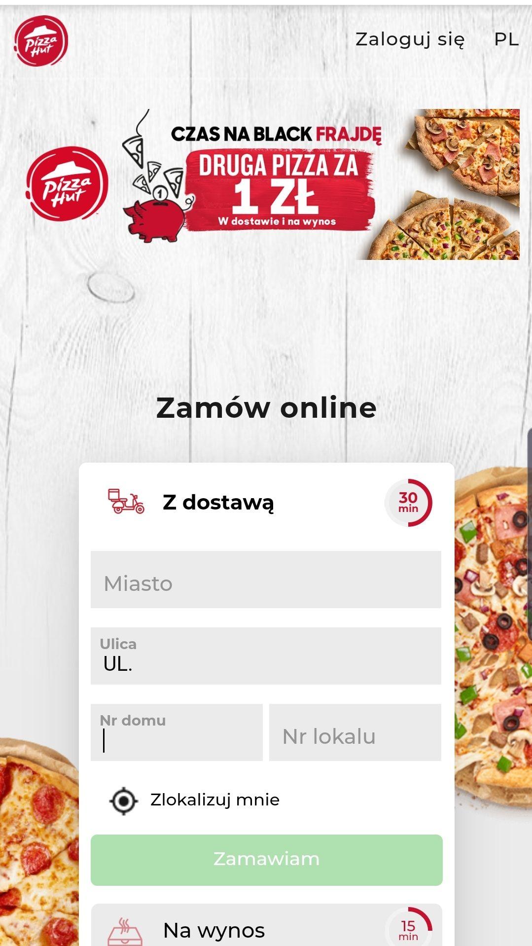Pizza hut- druga pizza za 1zl na wynos i w dostawie