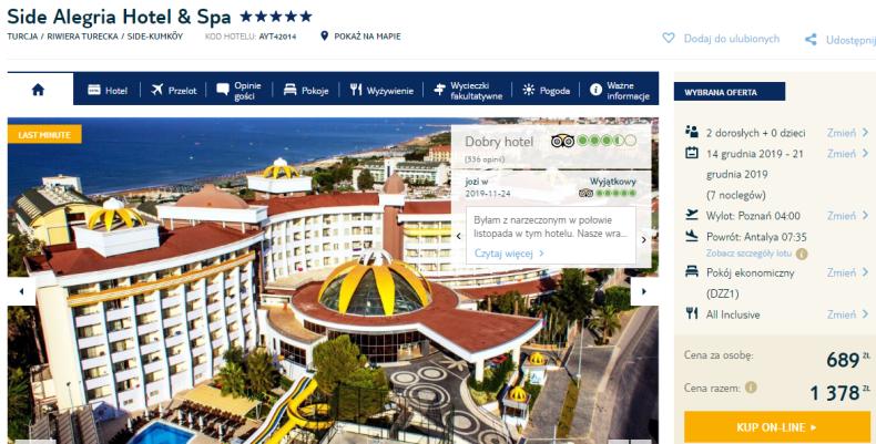 """All inclusive za """"grosze"""": 5* hotel w Turcji od 689 zł! Wyloty z 4 miast Grudzień"""