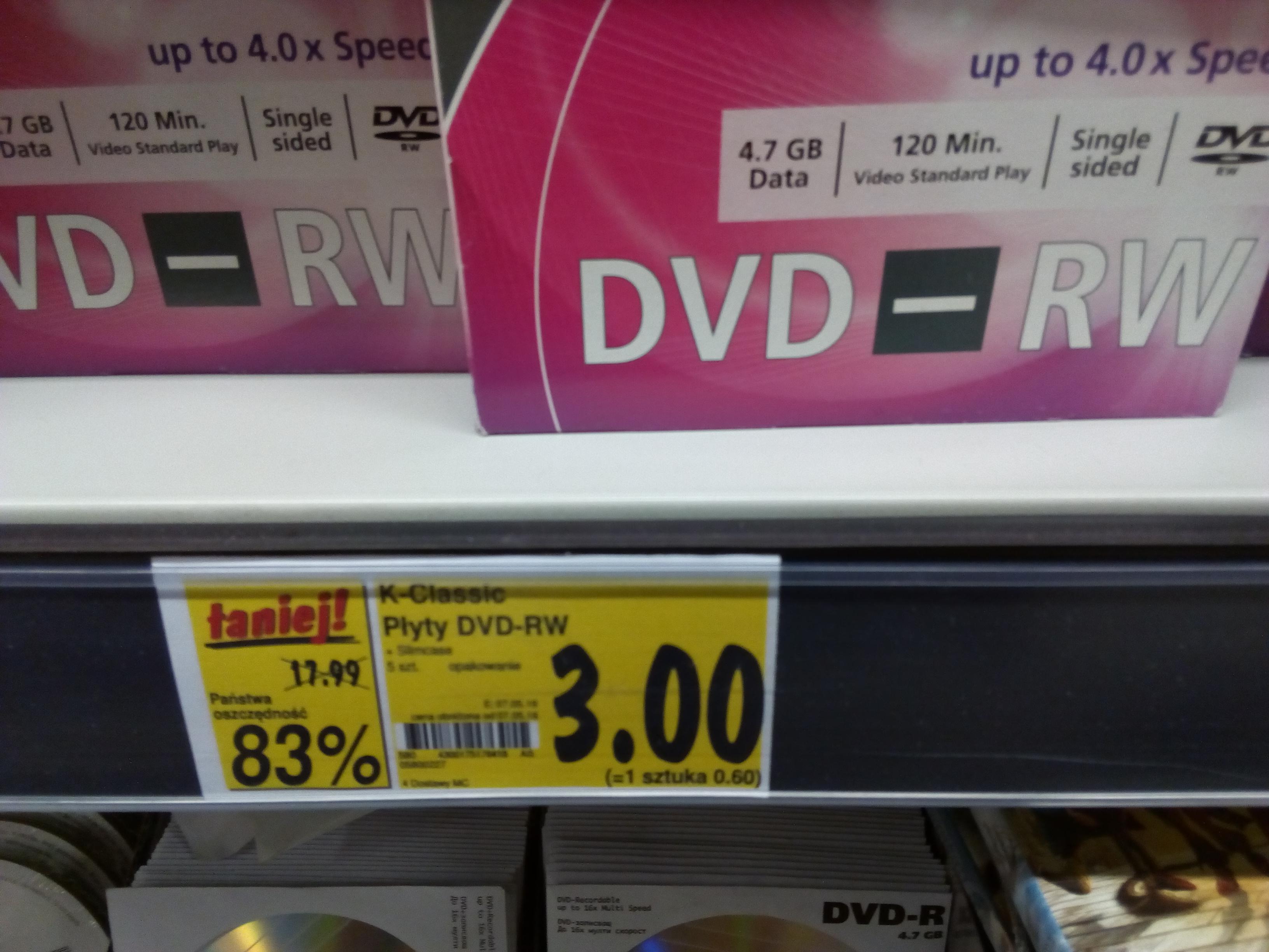Płyty DVD-RW w opakowaniu slim 5szt za 3zł @Kaufland